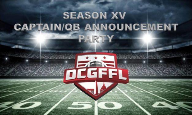 DCGFFL Captain/QB Announcement Party — August 16